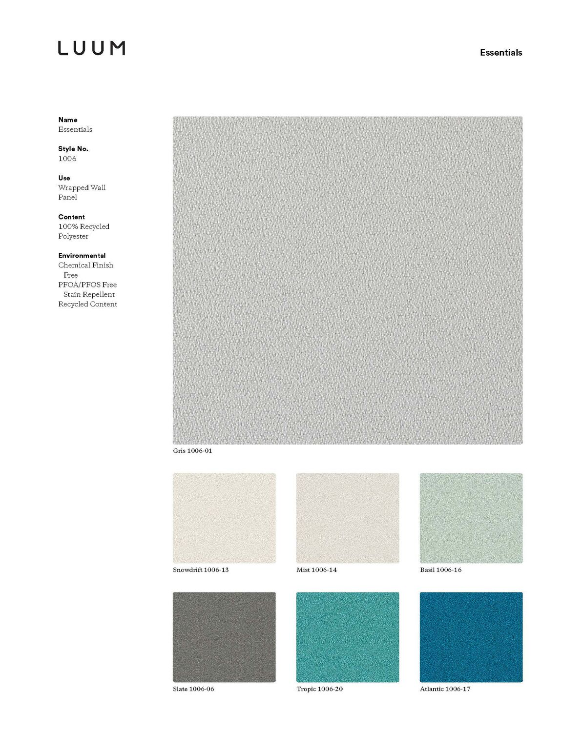 Essentials - Light Grey - 1006 - 05 - Half Yard Sample Card