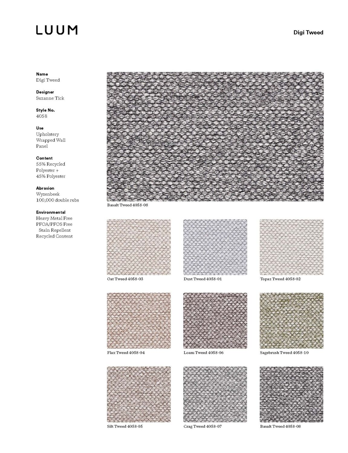 Digi Tweed - Basalt Tweed - 4058 - 08 Sample Card