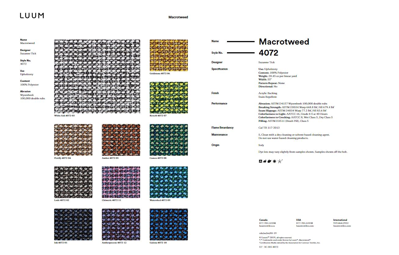 Macrotweed - Amber - 4072 - 05 Sample Card