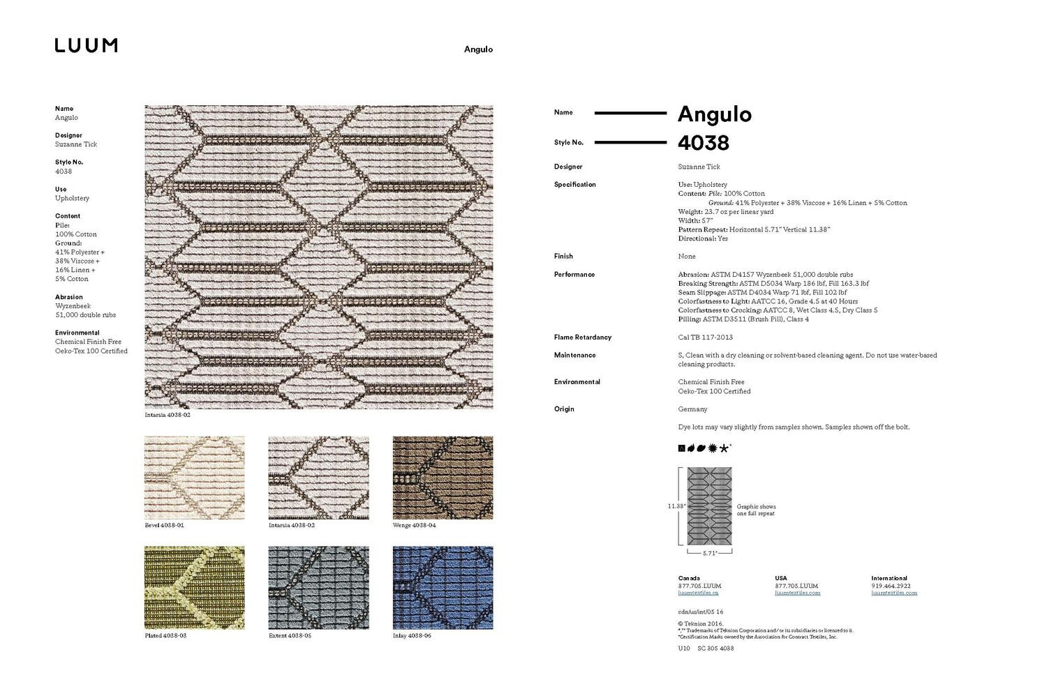Angulo - Intarsia - 4038 - 02 Sample Card